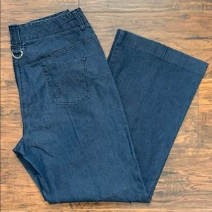 Women's Larry Levine Stretch Wide Leg Jeans Sz. 12